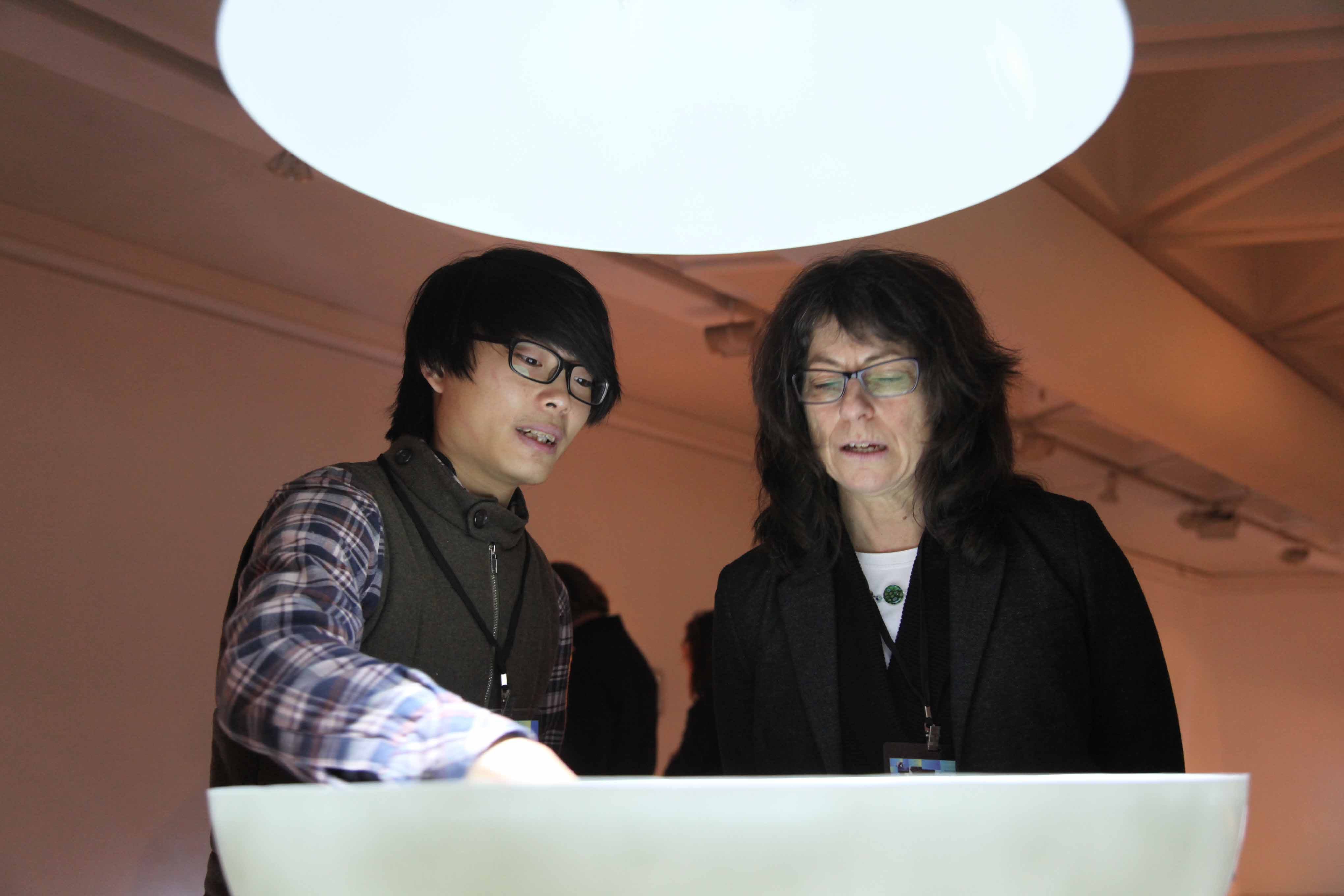 Diane Landry gave comments to one of the finalist, Wong Fuk-kuen, on his work <i>Magnetphonic</i>